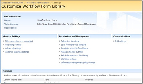 Form Library Settings